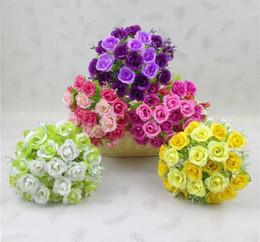 искусственные тычинки Скидка 10 букетов один букет 21 бутоны роз искусственные тычинки цветы лист для свадьбы домой свадебный букет