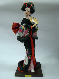 Wholesale Cheap Rags - Wholesale cheap Beautiful Handmade embroidery doll Japanese girl with fan statue