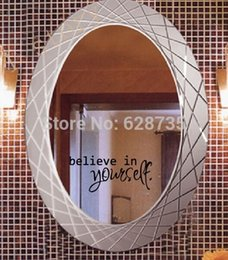 Wholesale Beautiful Bathrooms - Free Shipping Variety of bathroom mirror sticker - You're beautiful ,Believe in yourself .decal for mirror decor or wall,R2013