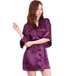 Wholesale women s bath robes - Women Silk Satin Short Night Robe Solid Kimono Robe Fashion Bath Robe Sexy Bathrobe Peignoir Femme Wedding Bride Bridesmaid Robe