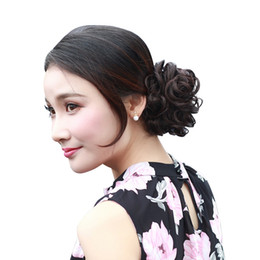 Wholesale Bun Accessories - Synthetic Hair Chignons Elastic Ribbon Ponytail Hair Bundles Buns