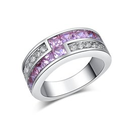 Wholesale Women Rings Amethyst - Amethyst Jewelry white gold plated CZ Diamond luxury Round engagement wedding Rings bague for women bijoux accessories MSR163
