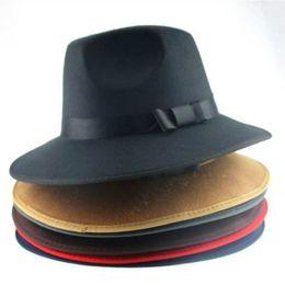 Wholesale Black Hard Hats - Wholesale-Vintage Men Women Jazz Bowknot Hard Felt Hat Wide Brim Fedora Trilby Panama Hats Gangster Sun Cap