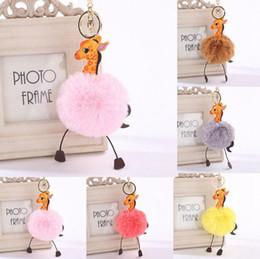 Wholesale Giraffe Bags - Faux Rabbit Fur Round Ball Pom Pom Cartoon Giraffe Style Lady Bag Charm Key Chain LJJO3480
