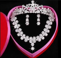 Wholesale Bridal Jewelry Sets Korean - Clear Austrian Rhinestone Crystal Necklace Earrings Set Bridal Crown Tiara Wedding Jewlery Free Shipping Daisy Korean pearl Crystal