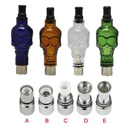 Wholesale E Cig Wax Globe - Skull Glass Globe Atomizer Dry Herb Vaporizer Wax Vapor Tank With Metal Ceramic Coil Heads Fit 510 E Cig Battery EGO Clearomizer