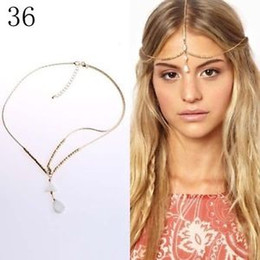Wholesale Gold Crown Head Band - Boho Gold Chain Shell Beads Crown Tikka Head Hair Cuff Headband Headpiece Band