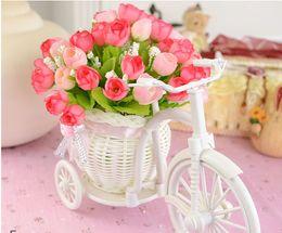 Wholesale Basket Bamboo - Flower Vase White Tricycle Bike Design Flower Basket Storage Container Party Weddding Decoration Home Decor knit Bike Photo props background