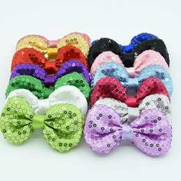 """Wholesale Tiara Headband For Babies Wholesale - 21pcs baby girls hair bows 3"""" glitter hair clips Embroidery sequins bowknot for baby hair accessories hair bow headband"""
