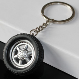 Wholesale Tire Key Ring - Tire Keychain Creative Auto Parts Model Spinning Rubber Wheel Tyre Key Chain Ring Keyring Keyfob