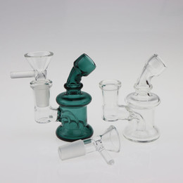 Wholesale Cheap Glass Bowl Pipe - 3.3 Inch Mini Glass Bongs Dab Rigs 14mm Female Joint with free glass bowl Cheap small Bubbler Glass Water Pipes Oil Rigs