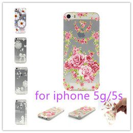 Wholesale Romantic Iphone Cases - Wholesale 50 pcs romantic Cute Beautiful Flowers Soft TPU For apple cell iPhone 5G 5g 5S Mobile Phone cover Cases