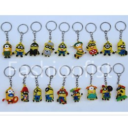 Wholesale Despicable Key Rings - Minion 3.5cm Doll 3D Key Chain Minions Keychain Key Ring The Cartoon Movie Despicable Me Action Figure Boys Girls Christmas Promotion Gift