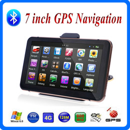 Wholesale hand gps systems - HD 7 inch Bluetooth Car GPS Navigation Hands Free FM Transmitter AVIN Vehicle Navigator System With 8GB 3D Maps