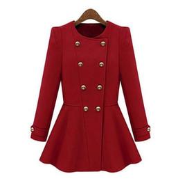 2019 più il cappotto di plaid rosso di formato All'ingrosso-blu rosso lana autunno inverno cappotto donne vendita calda nel 2015 nuovo stile di moda casacos femininos abiti spedizione gratuita per le donne