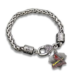 Wholesale Newest Made Antique Silver Plated Red Enamel St Louis Cardinals Baseball Team Logo Charm Bracelets