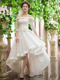 Wholesale Wedding Gowns Low Backs - Vintage Style High Low Wedding Dresses Off Shoulder Half Sleeve Flower Belt Lace Organza Short Frong Long Back Bridal Gowns Custom W686