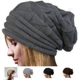 Wholesale Chic Winter Women Fashion - Knitted Hats for Mens Women Baggy BeanieS Oversize Winter Hat Ski Slouchy Chic Cap Skull Hot Freeshipping