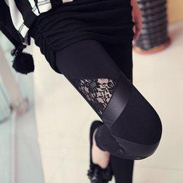 Wholesale Cheap Faux Pants - Hot sexy Cheap Lace Leggings Skinny Stretch Pants for Autumn Winter Triangular Lace PU Leather Leggings Women Pants 5pcs lot