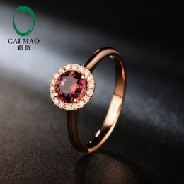 Wholesale Red Tourmaline Rose Gold Ring - Wholesale-Free shipping Natural Pave Set Diamond 5mm Round Cut 0.81ct Red Tourmaline Engagement 18K Rose Gold Hot Sale Ring