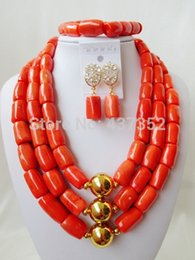 Wholesale Drum Coral Beads - Wholesale-Fashion African Wedding Women Strand Pink Drum Coral Beads Bridal Jewelry Sets Necklace Bracelet And Earrings Clips CWS-009