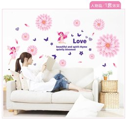 Wholesale Vinyl Free Shipping Flowers - Free shipping Romantic Flower Removable Bed Room Drawing Room Art Mural Vinyl Wall Sticker Decal 6019