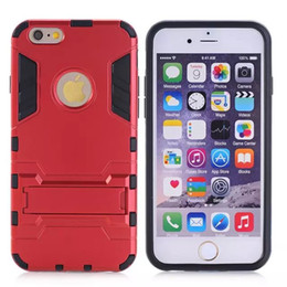 Wholesale Iphon5 Cases - New Iron Man Armor phone Cases 2 in 1 Support Phone protection shell For iphon5 5S 6 6PLUS 6S plus Shockprooof Dirt Proof