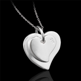 Wholesale Double Hearts Silver Necklace - Cheap fashion jewelry 925 sterling silver double heart pendant necklace Valentine's Day gift for girls free shipping