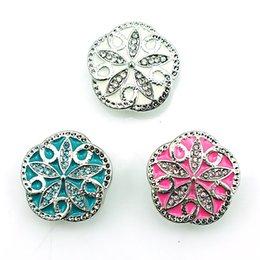 Moda 18 mm botones a presión 3 colores Rhinestone flor polígono Metal Ginger corchetes bricolaje Noosa accesorios de la joyería desde fabricantes