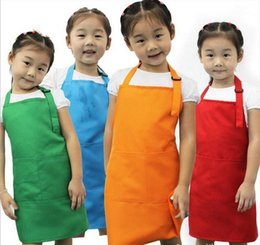Wholesale Kid Aprons - Kids Aprons Pocket Craft Cooking Baking Art Painting Kids Kitchen Dining Bib Children Aprons Kids Aprons 10 colors