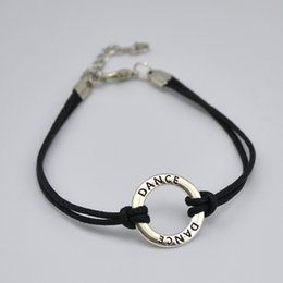 Wholesale Dance Charms Silver - top selling 50pcs a lot antique silver plated black wax cord bracelets connector ring dangle initial DANCE bracelet