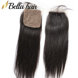 Wholesale Silk Top Closure Free Shipping - 10~20 inch Top Quality 4*4 Natural Color Peruvian Virgin Human Hair Straight Silk Base Closure Free Shipping