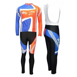 Wholesale Uci Winter Jersey - 2011 UCI Track World Championships Team Sky Long Sleeve Jersey and Bib Pants Set Bike Clothing 2015 Hot Cycling Clothes Winter Cycling Suits