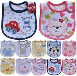Wholesale Wholesale Children Aprons - Infant saliva towels 3-layer Baby Waterproof bibs Baby accessories kids cotton apron handkerchief children animal bib pinafore Burp Cloths