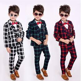 2019 muchachos del chaleco de navidad 4 UNIDS Little Boys Traje de Caballero Ropa Formal Abrigo Abrigo Camisa Chaleco Pantalones Traje Conjunto regalo de Navidad muchachos del chaleco de navidad baratos