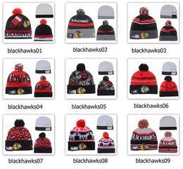 Wholesale gold jacquard - Winter Wool Hats Blackhawks Beanies