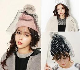 Wholesale Nets Wool Winter Hats - Wholesale-Fashiom hat supermodel dot veil beanie street snap net yarn knitted cap wool hat autumn winter Hats For Women Women's Beanies