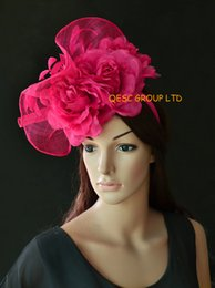 fac4d3727aaa0 Big Hot pink Sinamay fascinator hat with fearthers&3pcs silk flower for kentucky  derby Tea wedding .