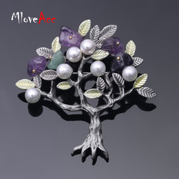 Wholesale Imitation Fruit - Wholesale- MloveAcc Artistical Women Brooches Vintage Old Tree Brooches with Fruit Stone Imitation Pearls Party Jewelry