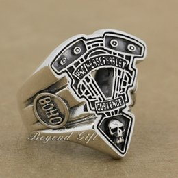Wholesale Moto Engines - 925 Sterling Silver Moto Engine Skull Mens Biker Punk Ring 9Q018 US Size 8~14 Free Shipping