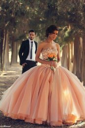 Wholesale White Strapless Debutante - 2015 New Arrival Puffy Ball Gown Wedding Dresses Strapless Coral Organza Crystals Beaded Laces up Back Debutante Dress vestidos Ball Gown
