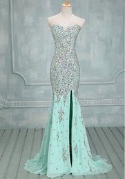 Wholesale Crystal Fresh Water - 2015 Sexy Luxury Full Crystals Floor Leength Charming Sheath Mermaid Sweetheart Beaded Chiffon Prom Dress Fresh Green Formal Evening Dress