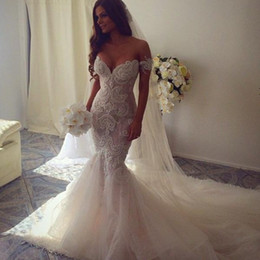 Wholesale Long Shirts Gowns - 2016 new spring luxury beaded trumpet   mermaid wedding dress bridal gowns with long train off the shoulder tulle robe de mariage