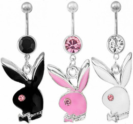 Wholesale Belly Ring Charms - BULK HOT SALE Belly Button Navel Ring Body Piercing Jewelry Dangle Accessories Fashion Charm Playboy 3 Colors