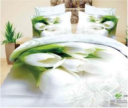 Wholesale Magnolia 3d Bedding - Wholesale-3D White magnolia floral flower bedding set queen size bedspread duvet cover sheet bed in a bag bedroom designer quilt linen cot