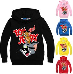 Wholesale Casual European Style Hoodie - 3-12Years Tom and Jerry Boys Pullover Hoodies and Sweatshirts Kids Jumpers Girls Coat Cartoon Printing Casual Outwear N14