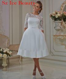 Wholesale Satin Bridal Gowns Corset - Sheer Lace Short Styles Wedding Dress Half Sleeves Scoop Corset Elegant Satin Bridal Gowns 2016 Knee Length Cheap Vestidos De Novia