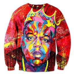 Wholesale Red Oil Paint - New men women's notorious b.i.g 3D pullover hoodie print oil painting Biggie smalls sweatshirt crewneck casual hip-hop clothing