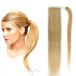 Wholesale Ponytail Hair Extension Blonde - Top quality 100% Human Hair ponytail 20 22inch 100g # 613 Bleach Blonde Double Drawn Brazilian Malaysian Indian hair extensions More colors