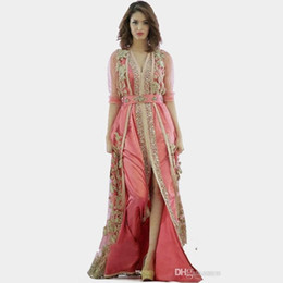 Wholesale Royal Clothes - pink dress Morocco Turkey robes 2018 New high quality long sleeve clothes fabric in dubai islamic robes evening dresses 134